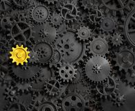 Old gears and cogs with gold one 3d illustration Stock Image