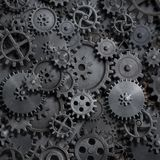 Gears and cogs steam punk technology background 3d illustration. Rusty gears and cogs steam punk background stock illustration
