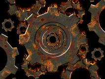 Rusty gears on fire. Flaming rusty gears over black background  created for rusty set . Look for more matching design elements in my gallery Royalty Free Stock Image
