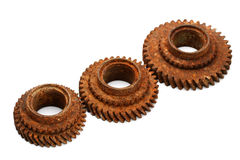 Rusty gears isolated on white. Background Royalty Free Stock Image