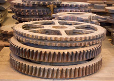 The rusty gears machined and industry stock photo