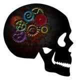 Rusty Gears na silhueta da textura do Grunge do crânio ilustração royalty free