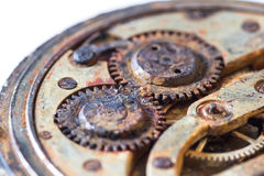 Rusty gears in an old pocket watch Stock Photo