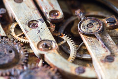 Rusty gears in an old pocket watch Stock Images