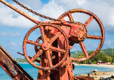 Rusty Gears in Old Red Crane Royalty Free Stock Photo