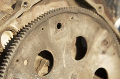 Rusty Gears. Old, rusty, sun-beat gears in a junk yard Stock Photos