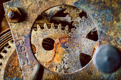 Rusty gears. Rusty and old watch gears close up Stock Photos