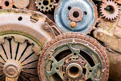 Rusty gears and other components of industrial machine Royalty Free Stock Photography