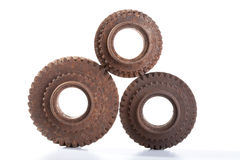 Rusty gears on a white background. Isolated Stock Photos