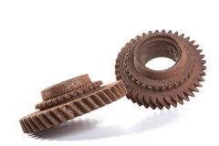 Rusty gears on a white background. Isolated Royalty Free Stock Photography