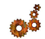 Rusty gears. On white background Royalty Free Stock Images