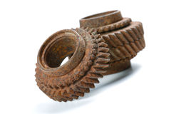 Rusty gears  on white Stock Photography