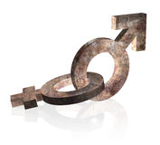 Rusty gender signs 3d on white Stock Image