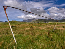Rusty goal in Dingle, Ireland. This old rusty goal has long been abandoned stock photography
