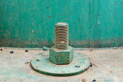 Rusty green bolt and nut Stock Image