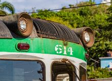 Rusty exterior of functioning train in Old Havana, Cuba. Rusty green, exterior of functioning train in Old Havana, Cuba stock images