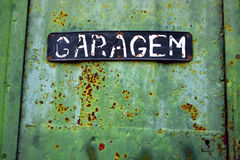rusty green garage door Stock Photo