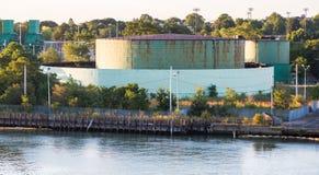 Rusty Green Storage Tanks Imagem de Stock Royalty Free