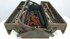 Rusty grey blue toolbox open on table Royalty Free Stock Photography