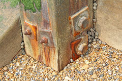 Rusty groyne post Stock Image
