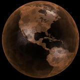 Rusty Grunge Earth Globe Black. Earth as a red planet, a rusty crusty grunge globe in space, on black royalty free illustration