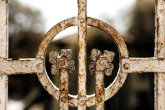 Rusty grunge floral element of an iron balcony railing Royalty Free Stock Photography
