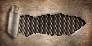 Rusty grunge metal background ripped hole Royalty Free Stock Photo