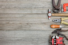 Rusty hand tools and instruments for house repair and renovation Royalty Free Stock Images