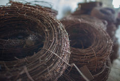 The rusty hank of an old barbed wire. Royalty Free Stock Photography