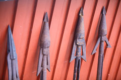 Rusty harpoons Stock Images