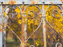 Rusty Heart Autumn. Part of an old fence in Balatonkenese stock photography