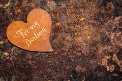 Rusty heart on rusty background, text for my darling Royalty Free Stock Photos