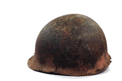 Rusty helmet  soldier. On white background Stock Images