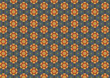 Rusty Hexagon Flower Pattern. A rich and colorful hexagon floral pattern in blue, gold and red colors Stock Images