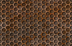 Rusty hexagon pattern grate texture seamlessly tileable Royalty Free Stock Images
