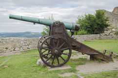 Rusty historic cannon. On meadow Royalty Free Stock Photos