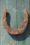 Rusty horseshoe on wood log Royalty Free Stock Photo
