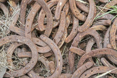 Rusty horseshoes discarded Stock Images
