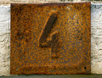 Rusty house number plate 4 Royalty Free Stock Photography