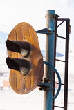 Rusty, inactive railway semaphore. Royalty Free Stock Image