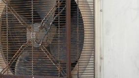 Rusty industrial fan spinning stock footage