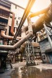 Rusty industrial pipelines in Steel mills Stock Image
