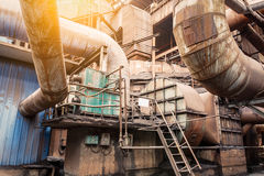 Rusty industrial pipelines in Steel mills royalty free stock photography