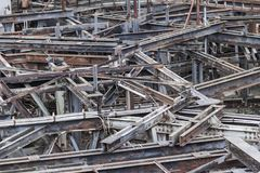 Rusty industrial scenery. Weathered rusty industrial scenery with lots of old corroded steel girders Stock Photo