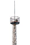 Rusty industrial searchlight tower isolated Royalty Free Stock Photos