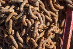 Rusty iron chain in the open air Royalty Free Stock Photos