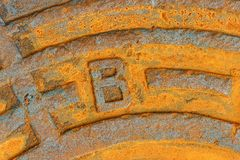 Rusty iron city sewer hatch. Stock Images