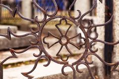 Rusty iron door with cross Stock Images