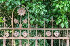 Rusty iron fence. Decorative, rusty iron fence with blossom pattern and ivy in the background Stock Photos