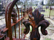 Rusty iron fence guards an old grave at cemetery in the Blue Mou Royalty Free Stock Photo
